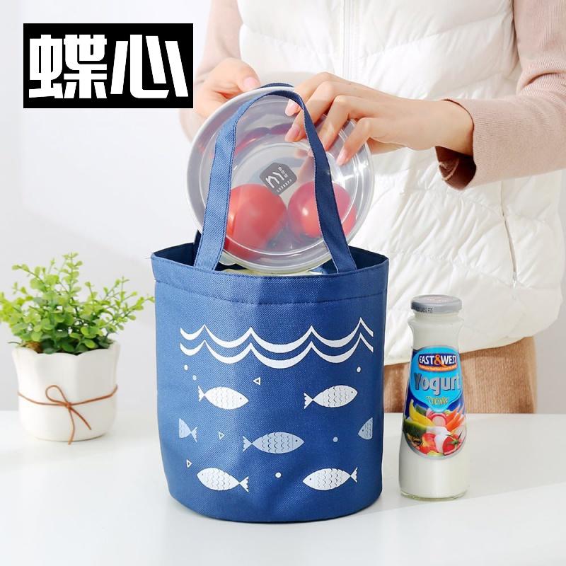 午饭饭盒帆布圆形袋约时尚上班手提保温袋子圆筒便当包饭团桶包20