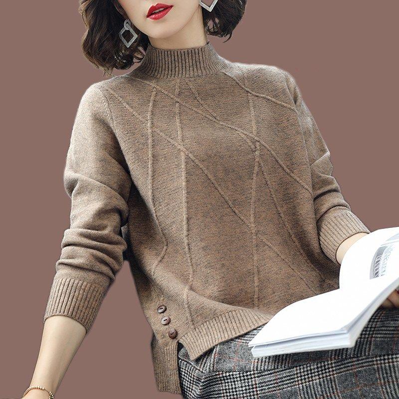 加厚秋冬毛衣女半高领百搭针织打底衫