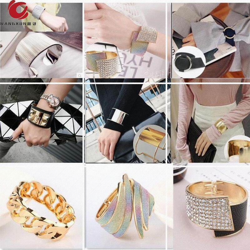 Retro style with opening personality wide net Bracelet Korean version with accessories cuff red girl Bracelet hand decoration fashion exaggeration trend