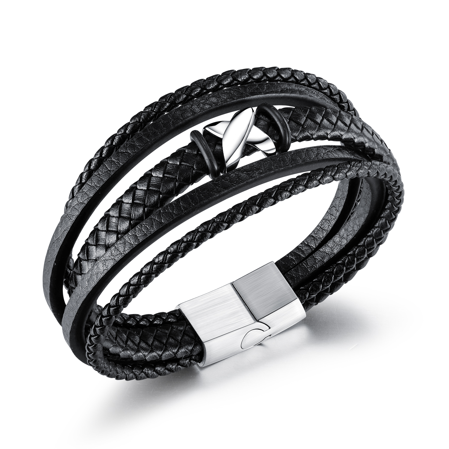 Top selling accessories European and American fashion woven multilayer Leather Bracelet personalized stainless steel magnetic buckle leather bracelet n1391