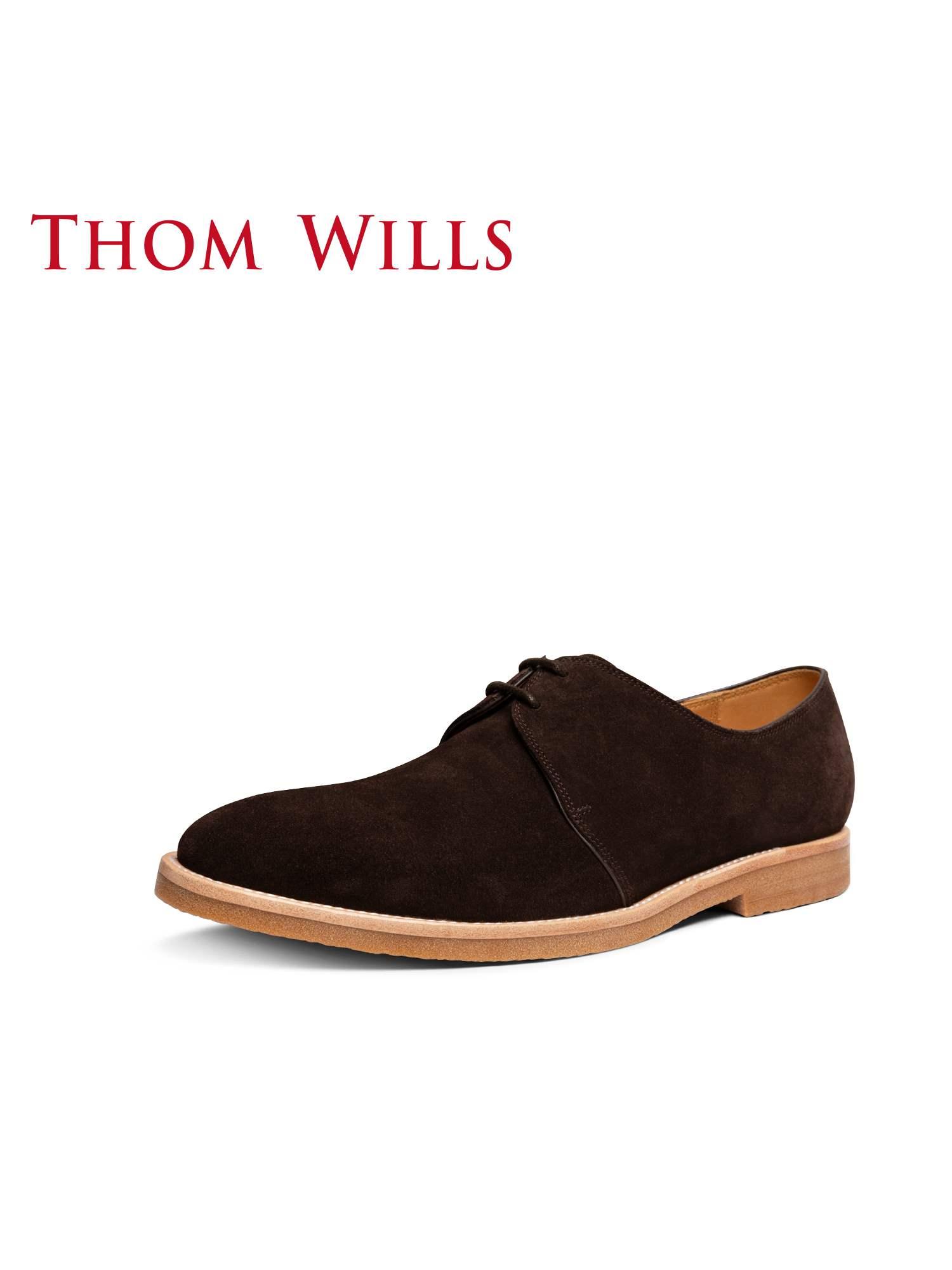 正品ThomWills男鞋反绒皮鞋男休闲复古商务英伦德比鞋低帮沙漠鞋