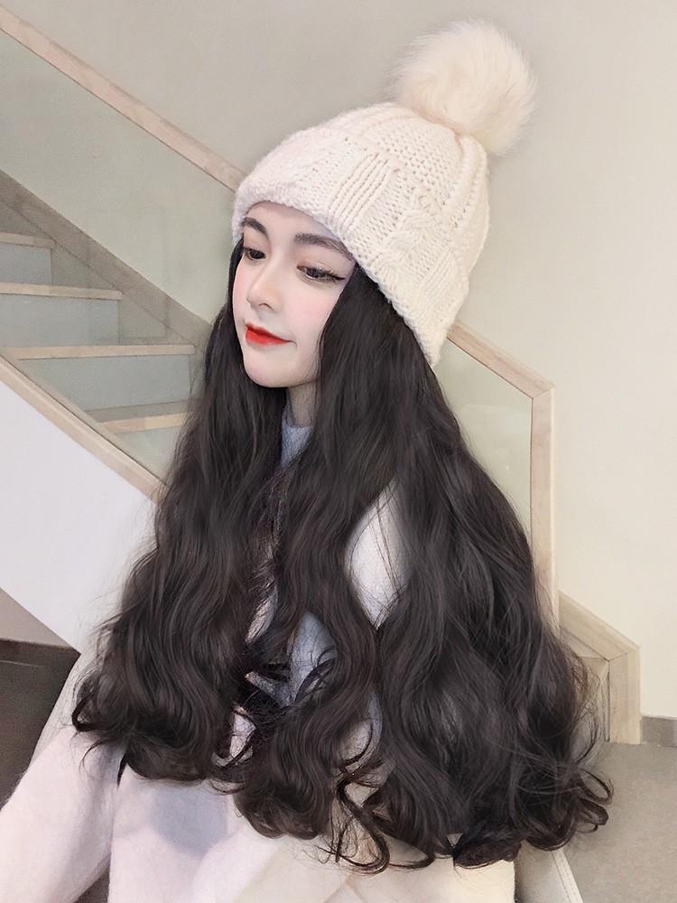带假发的帽子一体时尚秋冬款女士带长头发的潮流大波浪长卷发加绒