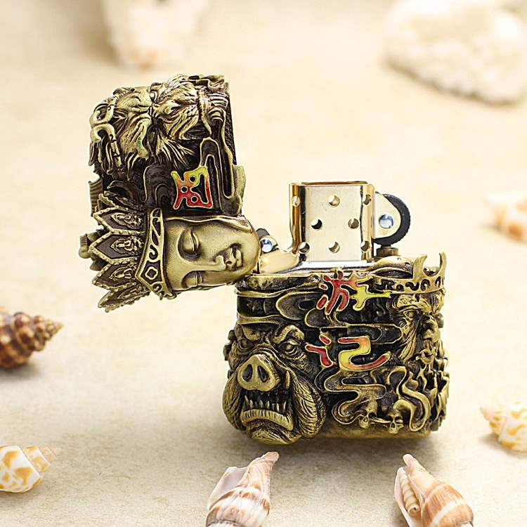 Genuine Zippo Lighter genuine zppo genuine luminous armor limited mens journey to the West six sided collection