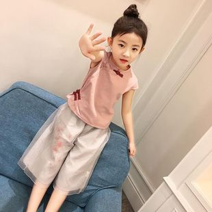 网红古风十岁女童装 改良汉服仙女中大童公主风上衣裤 子两件套