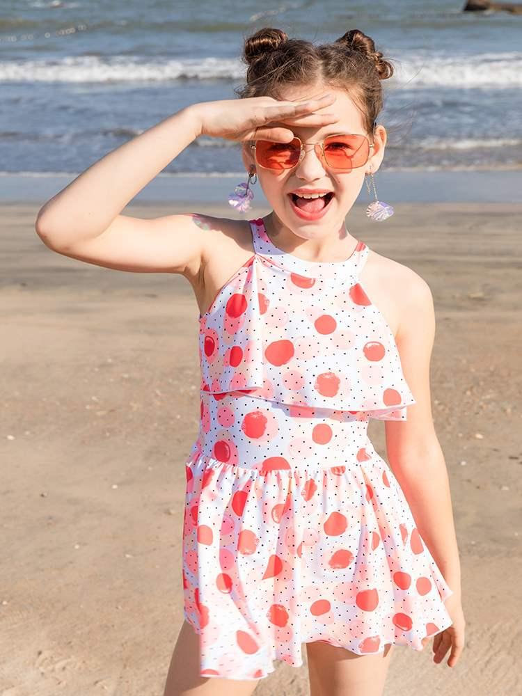 新款ins连体2020儿童泳衣女女童中大童时尚韩国风裙式学生游泳衣2