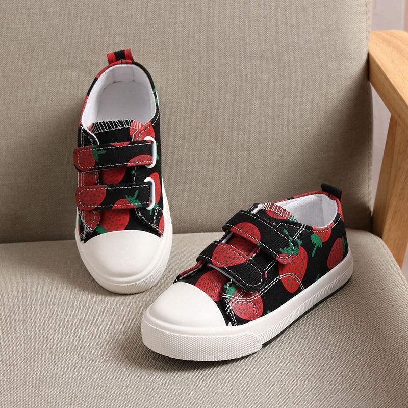日本款412岁草莓版童鞋板鞋休闲百搭女童帆布鞋儿童帆布鞋女春秋