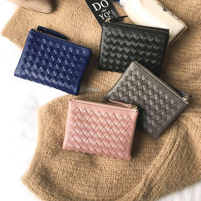 2020新款小清新折叠皮夹短款编织钱包两折双拉链超薄女生小钱包潮