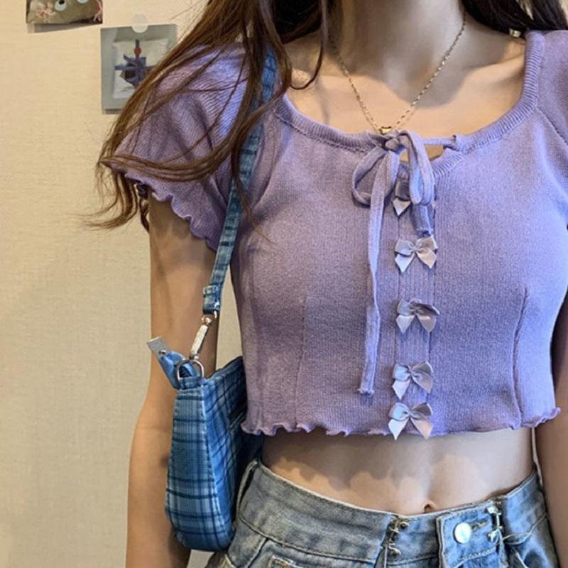 短款露脐T恤女2021春夏季新款韩版修身短袖学生纯色打底衫上衣潮