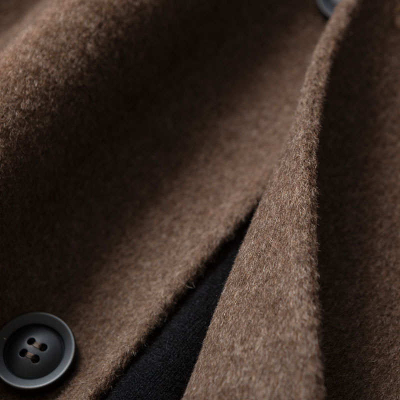 Winter business Lapel medium length double faced cashmere coat for men middle aged 100% pure wool