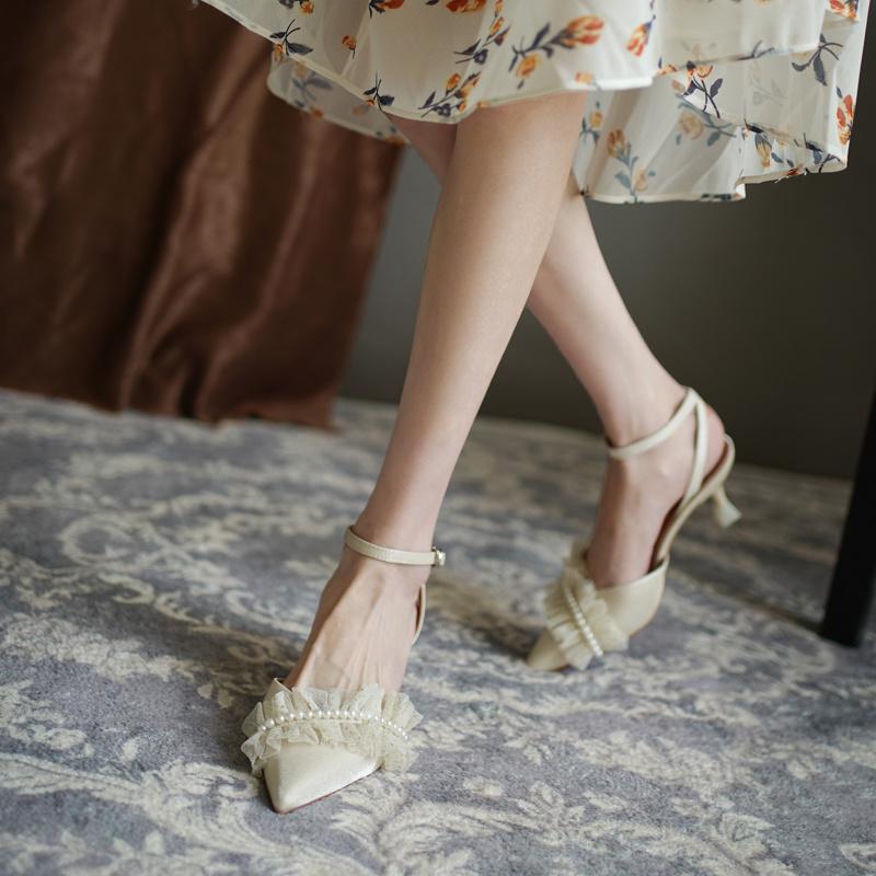 珍珠包头凉鞋女夏中跟法式蕾丝高跟鞋细跟脚踝绑带伴娘婚纱宴会鞋