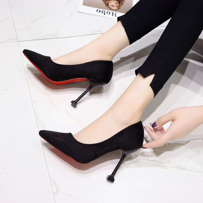 2020 new 10cm black white suede high heels cat heel frosted fine heel professional shoes womens single shoes green