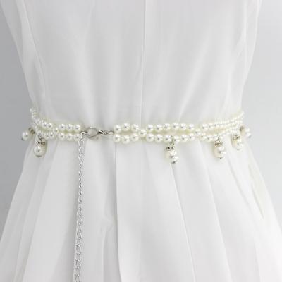 Dress with 100 skirt, belt, pearl waist, multi-layer with sweet sweater, tassel womens chain, Korean fashion dress