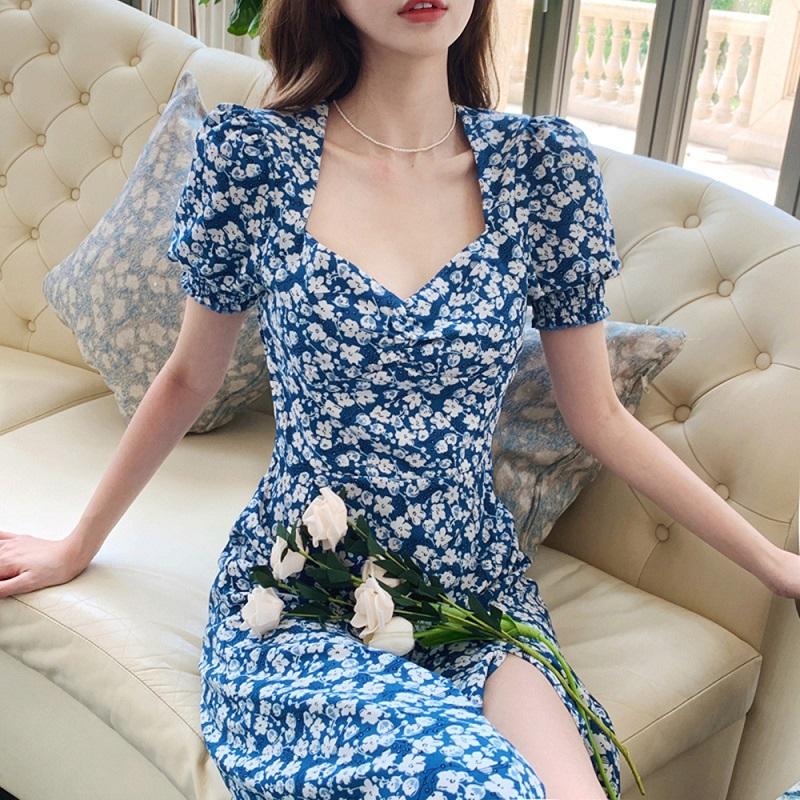 雪纺碎花连衣裙桔梗法式小个子裙子女夏装2021新款女宫廷风长裙
