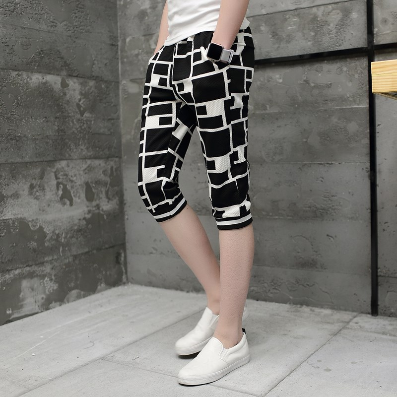 Summer Capris mens summer casual shorts Plaid Capris Korean slim thin 7-point pants mens fashion