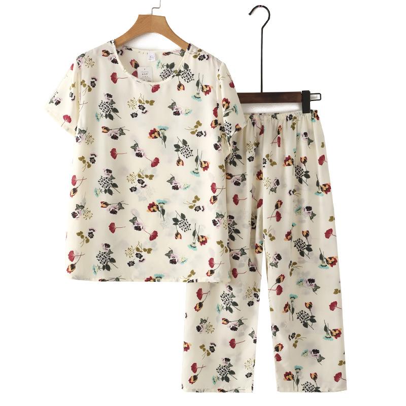 奶奶短袖套装2021夏装新款中老年人大码遮肚子妈妈两件套上衣洋气