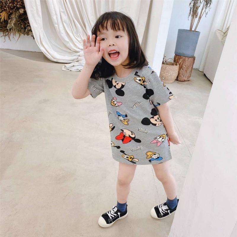 女童短袖连衣裙2021新款夏季宝宝卡通米