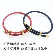 3mm港版周生款可调节手绳不锈钢丝绳防水手链红绳穿3D硬金转运珠
