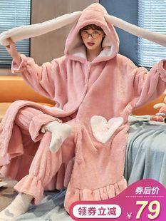 珊瑚絨睡袍女秋冬季長款加厚加絨家居服可愛法蘭絨睡衣女兩件套裝