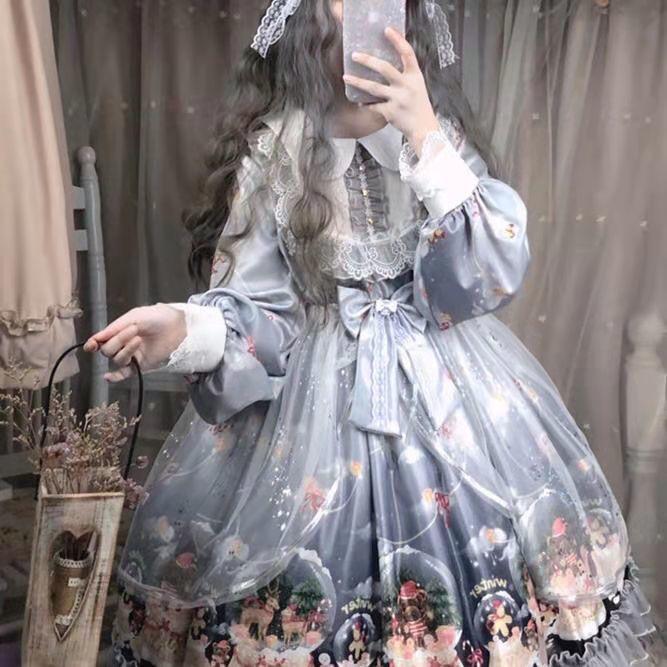 木魚工房の元ロリータのスカート全セットの日常花嫁かわいいワンピース