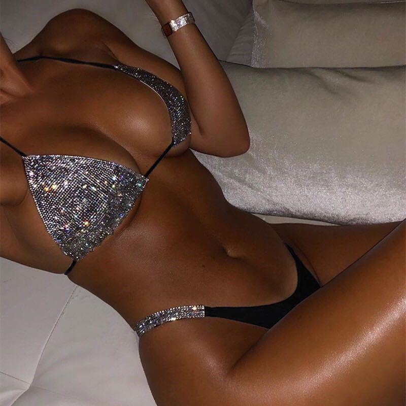欧美比基尼套装性感挂脖闪亮泳衣素色新款挂脖泳装拼色亮片bikini