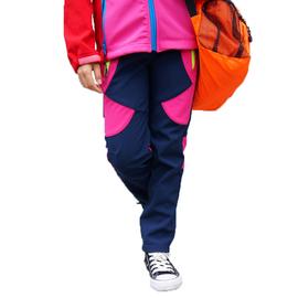 秋冬季户外儿童冲锋裤 防风防水抓绒保暖 男女滑雪裤登山软壳裤图片