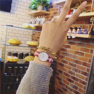 Ulzzang korean version simple European and American canvas nylon belt casual fashion men and women students couple Watch