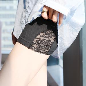 安全裤女夏防走光不卷边薄款冰丝裤无痕短裤打底裤外穿蕾丝收腹裤