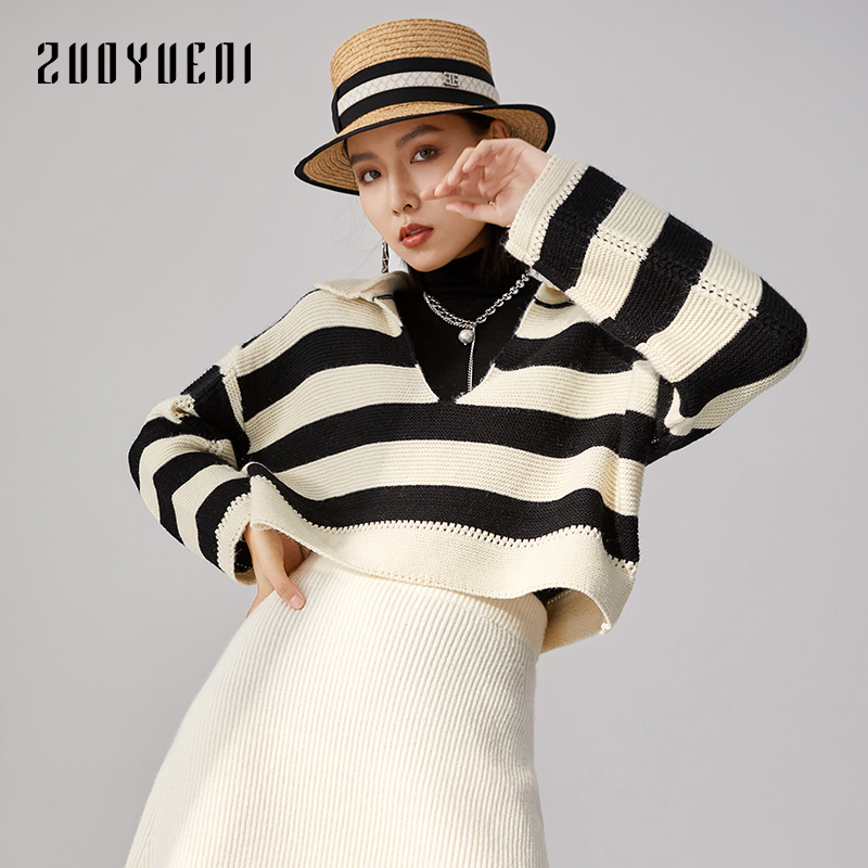 Zoe yuenis lazy little fragrance V-neck striped bottomed sweater Dongxin 2020 fashion Lapel shows thin knitwear trend