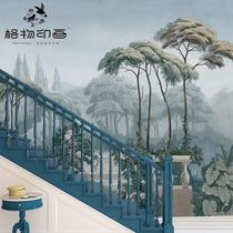 格物印画法式壁纸波多玫瑰花园电视背景墙客厅墙纸壁布大型壁画