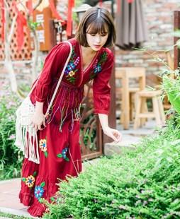 泰國尼泊爾西藏雲南青海湖柬埔寨旅遊度假民族風拍照連衣裙