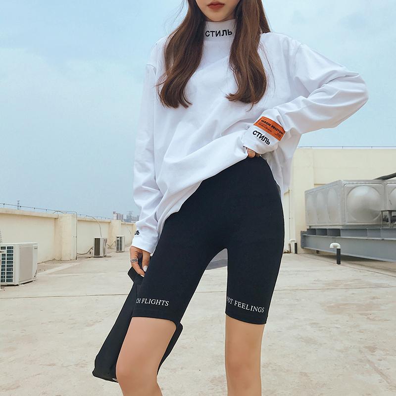 5分打底裤女夏可外穿字母五分裤薄款紧身弹力运动短裤健美骑行裤