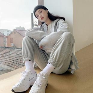 灰色运动裤女宽松束脚裤秋冬季加绒加厚显瘦百搭2020新款休闲卫裤