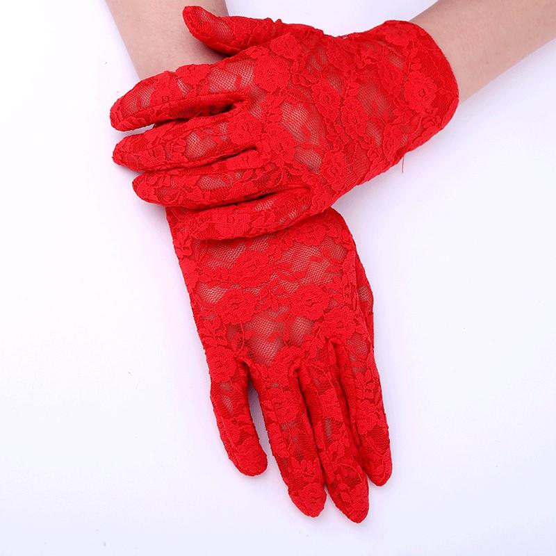 2021 Wedding Gloves 1 Bridal Wedding Gloves Lace red white wedding gloves satin