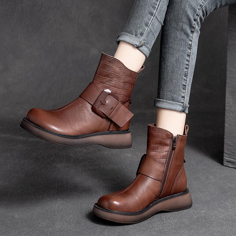 Shanghai 2021 new womens shoes fashion cowhide round head thick bottom belt buckle high top side zipper Martin single boot