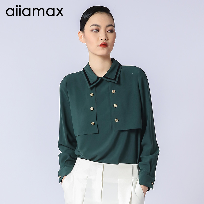 Aiiamax2021 spring and autumn new long sleeve personalized fashionable shirt casual womens top slim solid color shirt