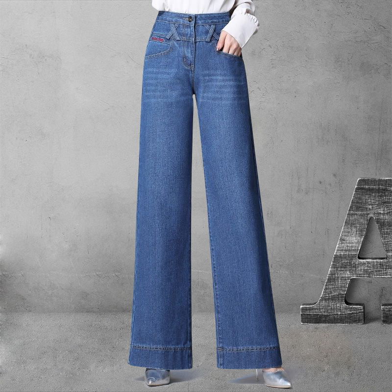 The leg size of 2020 large ankle Plush wide womens jeans plus new style and bobbin pants high waist loose wide early autumn leg straight pants