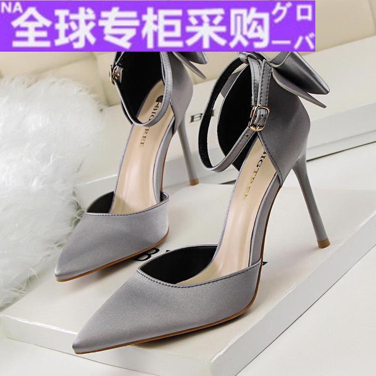 Japan HF wedding shoes womens 2020 new thin heel Sexy Bridal single shoes dress shoes wedding dress shoes