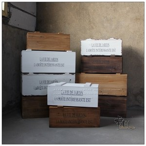 实木大号杂物收纳复古装饰木箱子木制白色做旧储物有盖陈列道具箱