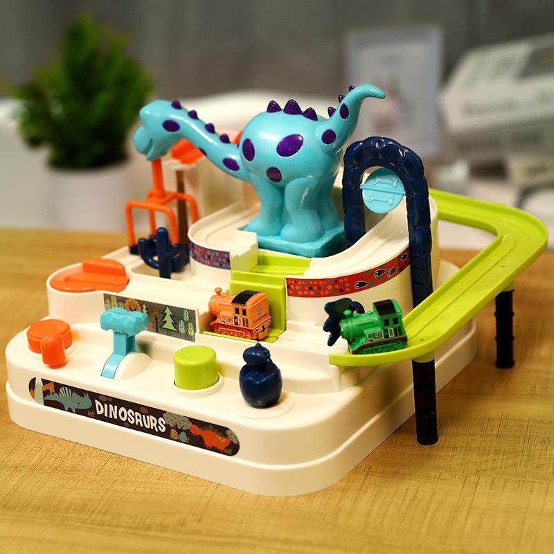 恐龙闯关大冒险儿童汽车小火车轨道车益智玩具智力动脑男女孩六一