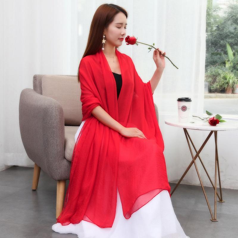 单色丝巾空调披肩超大新款民族风纯色围巾女学生韩版夏季纱巾