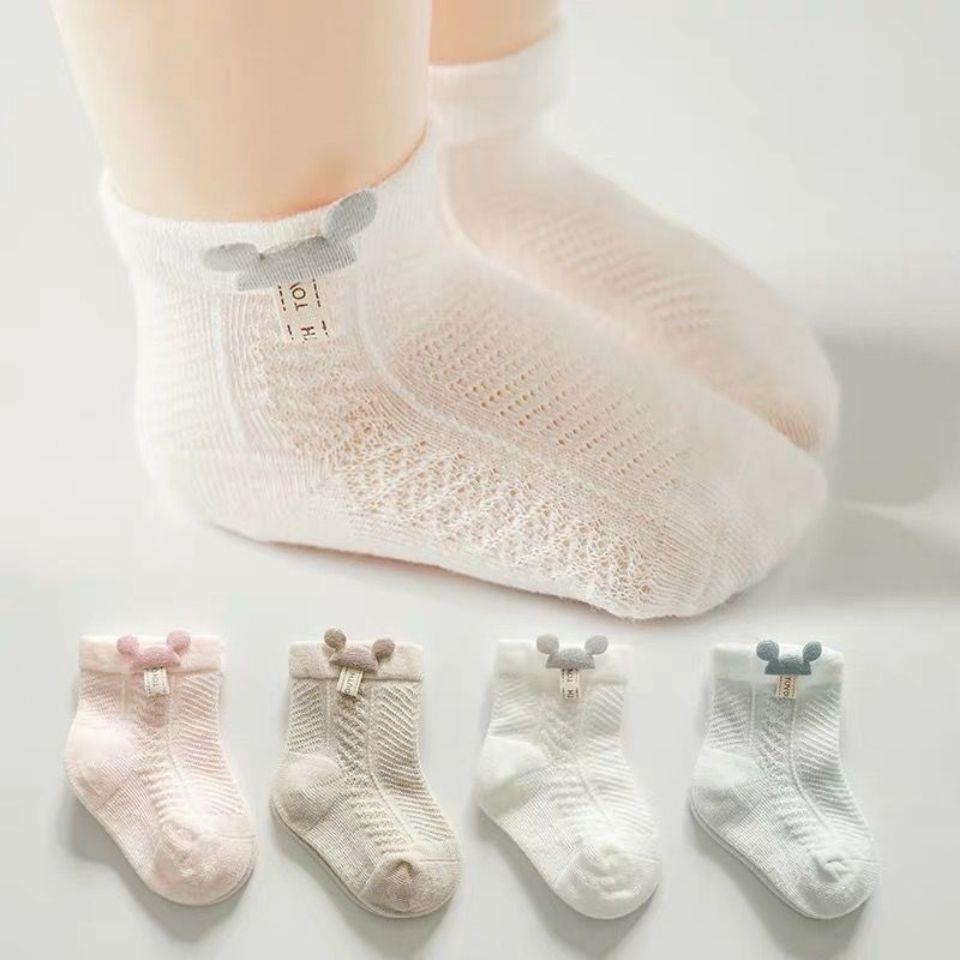新疆棉婴儿袜子夏季薄款透气新生幼儿宝宝春秋纯棉可爱无骨短袜