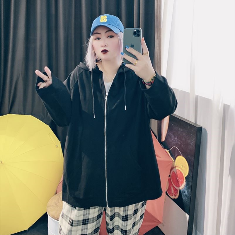 Full fat lady large womens clothing Korean version 200 Jin fat mm casual coat womens spring and autumn Hooded Sweater zipper cardigan