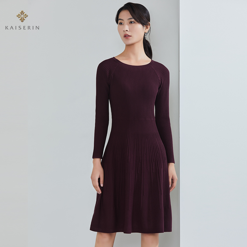 Kaiserin new over knee round neck long sleeve knitted slim dress womens mid long autumn and winter skirt