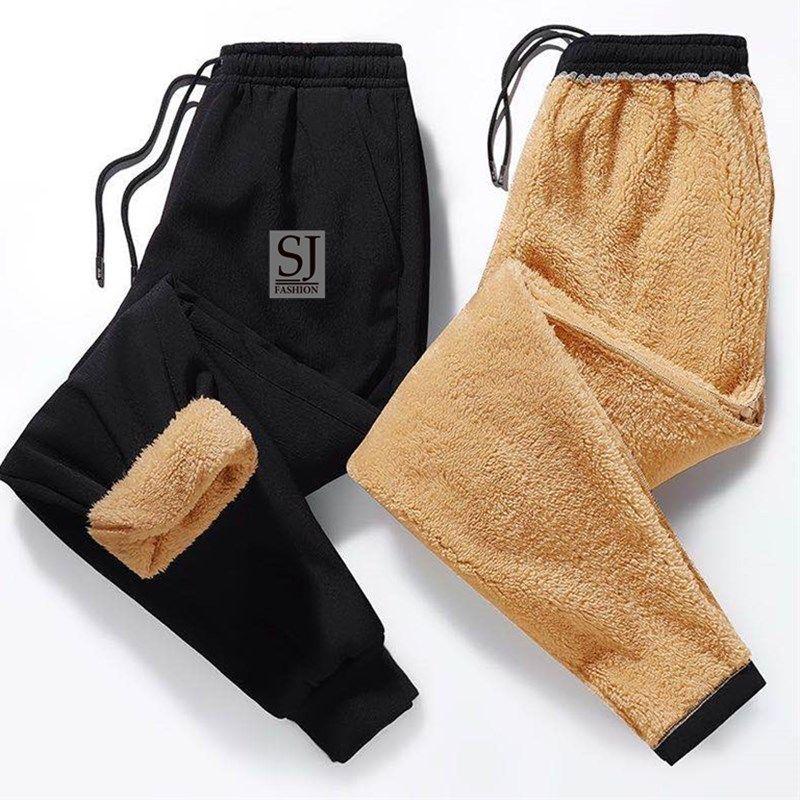 秋冬裤子男士高腰加绒加厚运动裤羊羔绒束脚休闲裤学生保暖卫裤