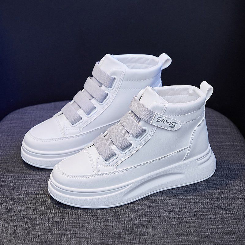 Velcro high top shoes womens fall 2020 new student versatile small white shoes popular autumn and winter sports casual shoes