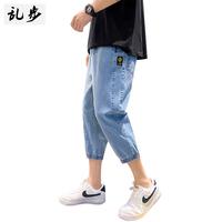 乱步牛仔裤男潮牌夏季薄款七分中裤宽松束脚裤子韩版潮流八分短裤