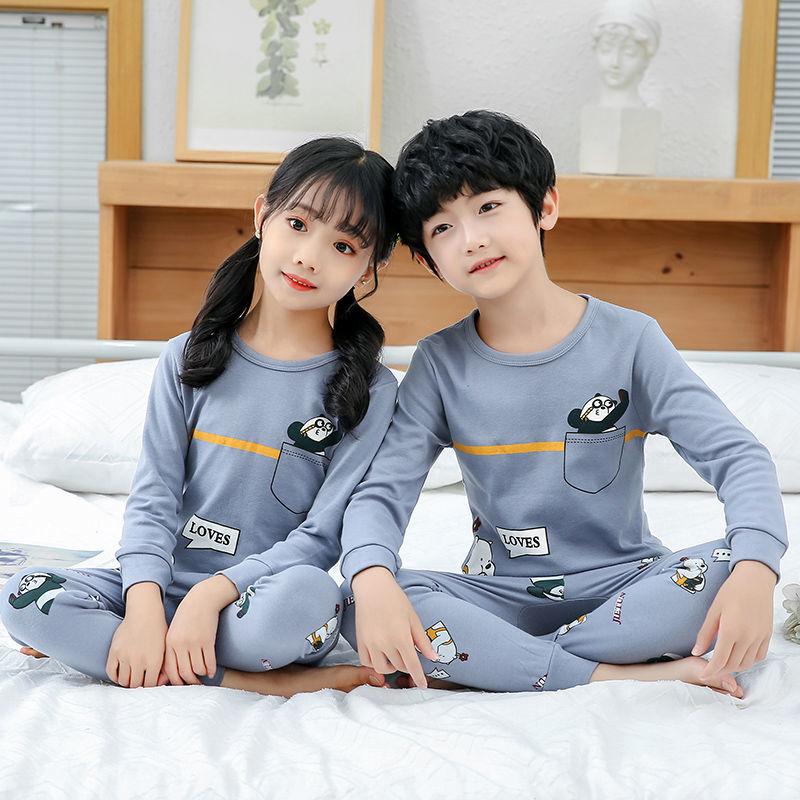 男童女童洋气睡衣套装2020秋季新款韩版潮流打底保暖棉内衣两件套