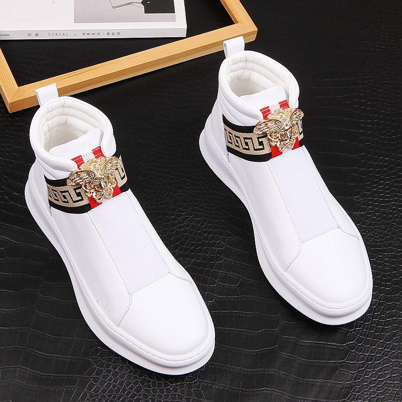 Mens shoes fashion high top shoes versatile personality board shoes thick soled small white shoes Leather Boots Mens casual shoes plush shoes