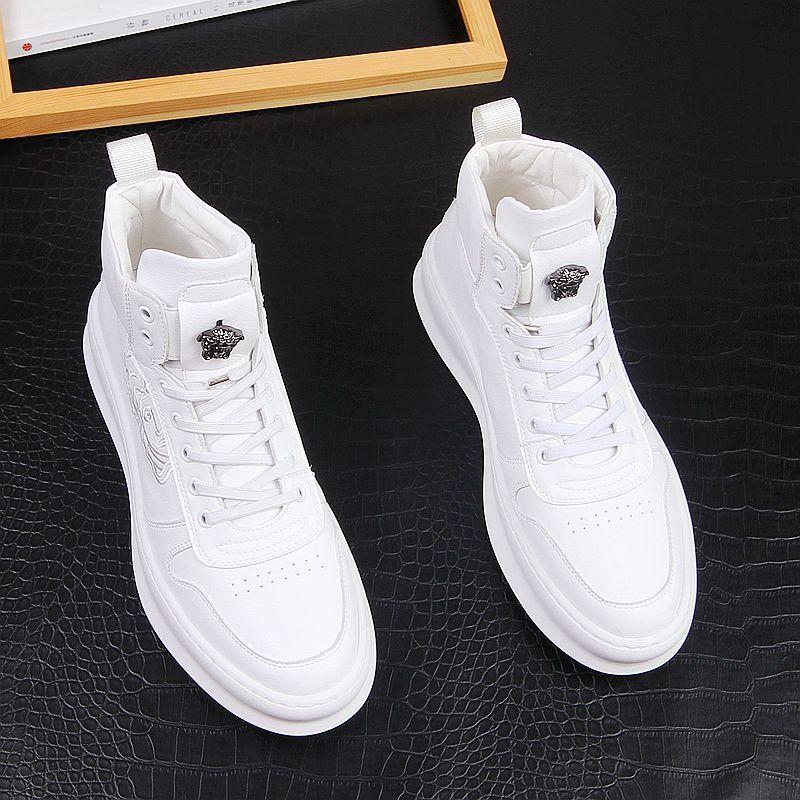 白色高帮鞋男百搭厚底内增高男靴个性刺绣男式休闲鞋潮流男板鞋