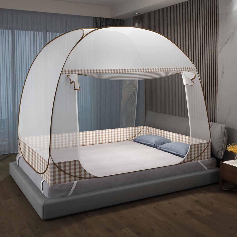 免安装蚊帐蒙古包家用1.5米双人床1.8m宿舍0.9m儿童防摔有底蚊帐